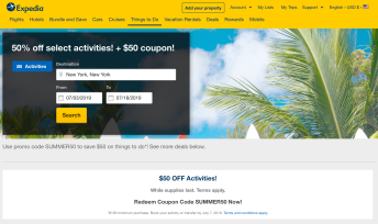Great Deal On Expedia: 50% Off Select Activities (& $50 Off $150+